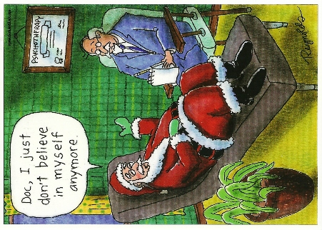 Postcard Santa- Doc, I just don\'t believe in myself anymore.