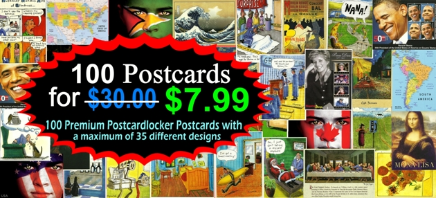 100 Premium Postcardlocker Postcards with a maximum Of 35 differ