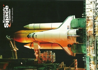 Postcard Space Shuttle Discovery awaits the dawn of day Kennedy