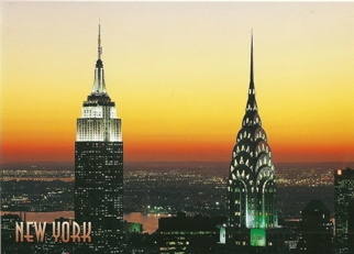 Postcard Empire State and Chrysler Buildings New York