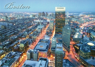 24xPostcard Of BOSTON Downtown on a Winter Evening