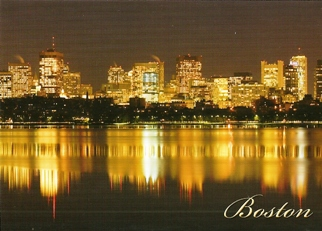 19x Postcard Night Skyline BOSTON