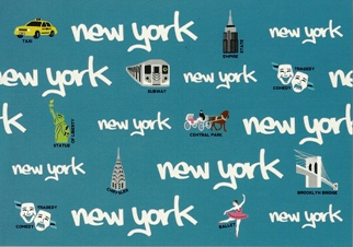25x Postcard Of NEW YORK (In Words BLUE)