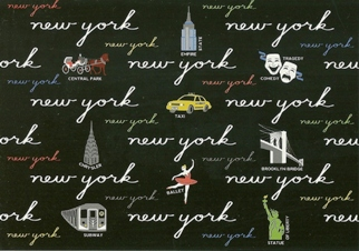 24x Postcard Of NEW YORK (In Words BLACK)
