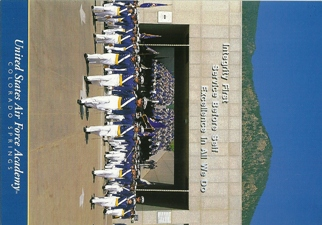 Postcard of U.S. Air Force Academy Cadet Chapel Wing on parade