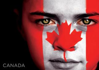 Postcard of CANADA Flag Face