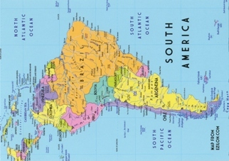 Postcard of Map of South America