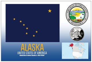 12 (1 Dozen OF The Same Design) Postcard of ALASKA- United State