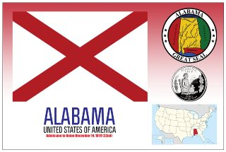 12 (1 Dozen OF The Same Design) Postcard of ALABAMA - United Sta