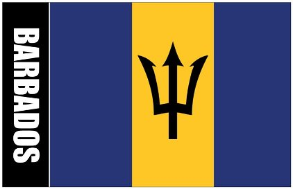 6x Oversize Postcard Of Barbados Flag with Coat Of Arms on Back