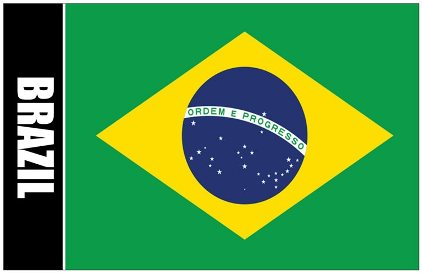 6x Oversize Postcard Of Brazil Flag with Coat Of Arms on Back (