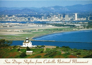 34 x Postcard of San Diego Skyline from Cabrillo National Monume