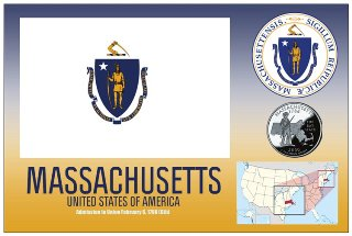 12 (1 Dozen OF The Same Design) Postcard of MASSACHUSETTS- Unite