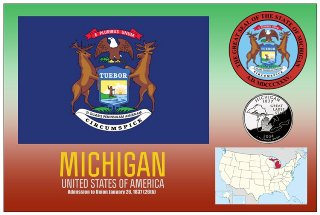 12 (1 Dozen OF The Same Design) Postcard of MICHIGAN- United Sta