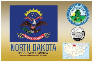 12 (1 Dozen OF The Same Design) Postcard of NORTH DAKOTA - Unite