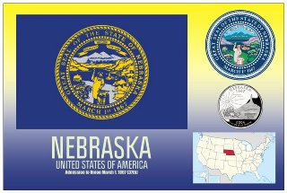 12 (1 Dozen OF The Same Design) Postcard of NEBRASKA- United Sta