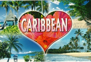 18x Postcard Of Caribbean Beaches Heart Design.