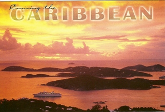 18x Postcard Of Cruising The Caribbean, Sunset with Cruise Ship.