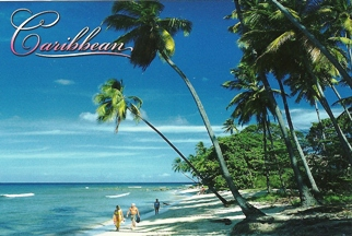 18x Postcard Of Caribbean, Beach, Couple walking on Beach.
