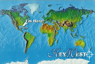 Postcard I'm Here World Map Showing Key West Florida ( With Reci