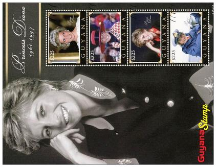 Postcard Princess Diana on Stamps Of Guyana Diana, Princess of W