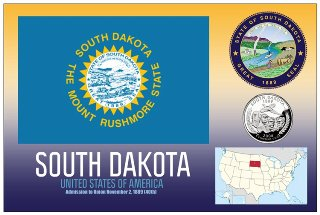 12 (1 Dozen OF The Same Design) Postcard of SOUTH DAKOTA- United