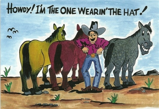 11X POSTCARD HOWDY! I\'M THE ONE WEARIN\' THE HATl