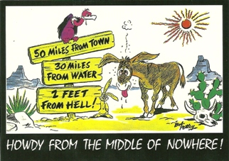 12 (1 Dozen OF The Same Design POSTCARD HOWDY FROM THE MIDDLE OF