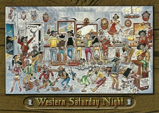12 (1 Dozen OF The Same Design POSTCARD OF WESTERN SATURDAY NIGH