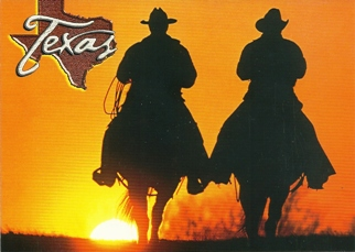 12 (1 Dozen OF The Same Design POSTCARD OF COWBOY SUNSET TEXAS