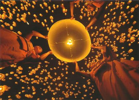 Postcard Of Sky lantern festival in the city of Chiang MAI Yi Pe
