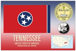 12 (1 Dozen OF The Same Design) Postcard of TENNESSEE- United St