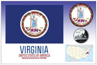 12 (1 Dozen OF The Same Design) Postcard of VIRGINIA - United St