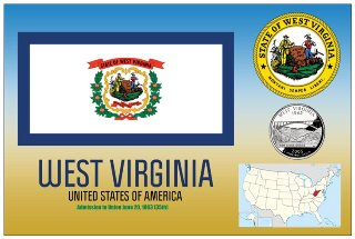 12 (1 Dozen OF The Same Design) Postcard of WEST VIRGINIA- Unite